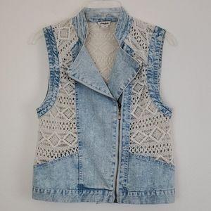 LoveRiche Denim & Crocheted Vest  - M